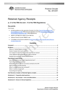 Retained Agency Receipts Finance Circular No. 2012/01