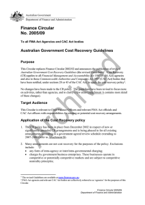 Finance Circular No. 2005/09  Australian Government Cost Recovery Guidelines
