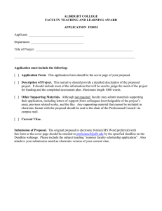 ALBRIGHT COLLEGE FACULTY TEACHING AND LEARNING AWARD APPLICATION  FORM