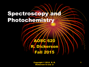 Spectroscopy and Photochemistry AOSC 620 R. Dickerson