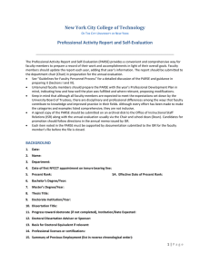 New York City College of Technology Professional Activity Report and Self-Evaluation  ___________________________________________________________________