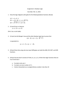 Assignment 2: Boolean Logic Due Date: Feb. 11, 2016
