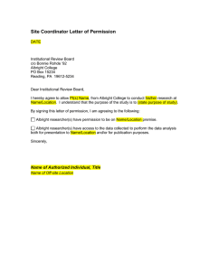 Site Coordinator Letter of Permission