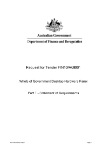 Request for Tender FIN10/AGI001  Whole of Government Desktop Hardware Panel