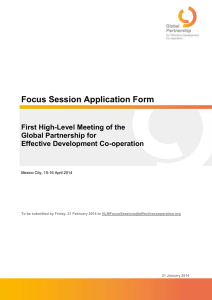 Focus Session Application Form First High-Level Meeting of the Global Partnership for