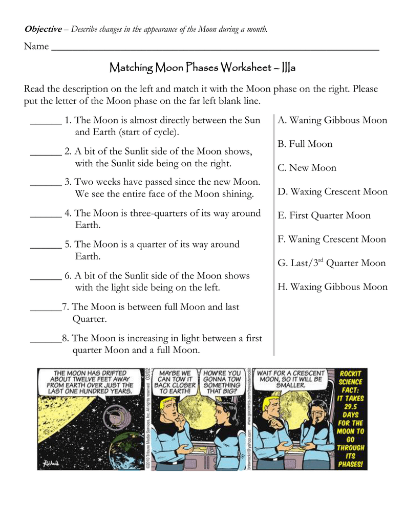 Name Matching Moon Phases Worksheet Iiia