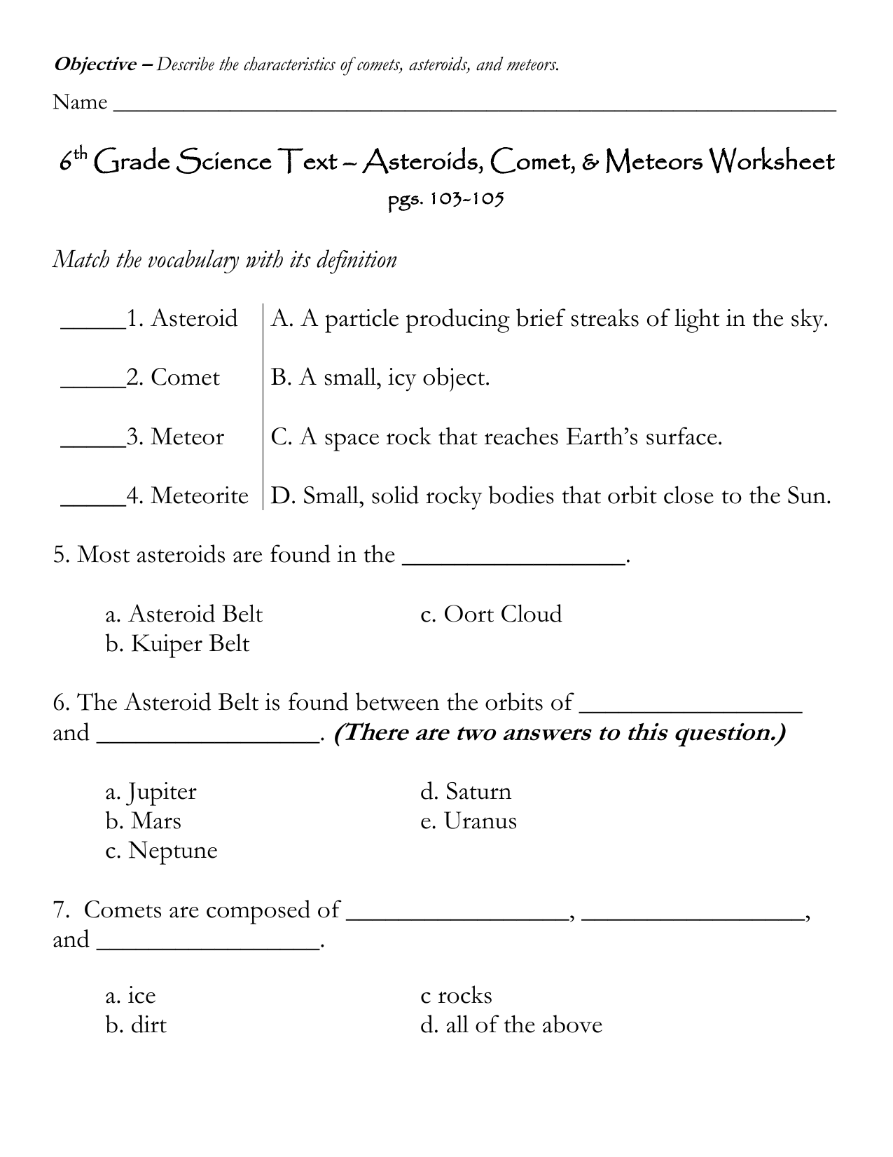 6 Grade Science Text Asteroids Comet Meteors Worksheet – Sixth Grade Science Worksheets