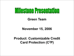 Green Team November 15, 2006 Product: Customizable Credit Card Protection (C