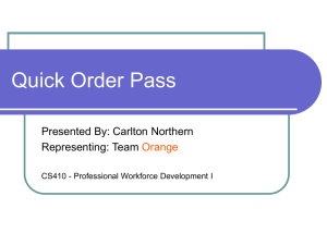 Quick Order Pass Presented By: Carlton Northern Representing: Team Orange