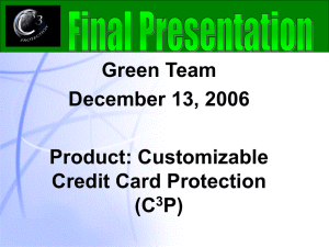 Green Team December 13, 2006 Product: Customizable Credit Card Protection