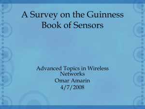 A Survey on the Guinness Book of Sensors Advanced Topics in Wireless Networks