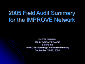 2005 Field Audit Summary for the IMPROVE Network Dennis Crumpler