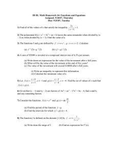 IB HL Math Homework #4: Functions and Equations Assigned: 9/20/07, Thursday