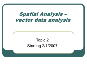 Spatial Analysis – vector data analysis Topic 2 Starting 2/1/2007