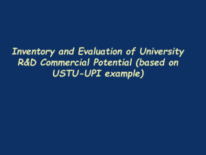 Inventory and Evaluation of University R&D Commercial Potential (based on USTU-UPI example)