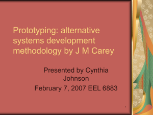 Prototyping: alternative systems development methodology by J M Carey Presented by Cynthia