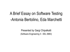 A Brief Essay on Software Testing -Antonia Bertolino, Eda Marchetti