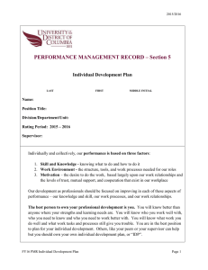PERFORMANCE MANAGEMENT RECORD – Section 5  Individual Development Plan