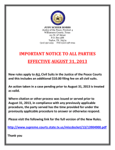 IMPORTANT NOTICE TO ALL PARTIES EFFECTIVE AUGUST 31, 2013