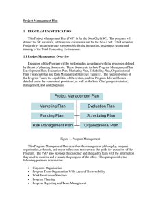 Project Management Plan  1  PROGRAM IDENTIFICATION