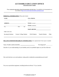 ACCESSIBLE EDUCATION OFFICE REGISTRATION FORM