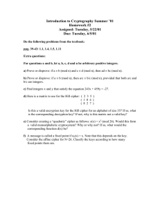 Introduction to Cryptography Summer '01 Homework #2 Assigned: Tuesday, 5/22/01 Due: Tuesday, 6/5/01