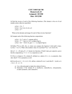 COT 3100 Fall '00 Homework #3 Assigned: 10/3/00 Due: 10/12/00