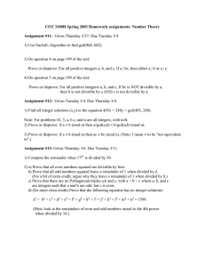 COT 3100H Spring 2003 Homework assignments: Number Theory  Assignment #11: