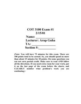 COT 3100 Exam #1 2/15/01 Name: ____________
