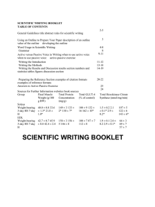 SCIENTIFIC WRITING BOOKLET TABLE OF CONTENTS 2-3