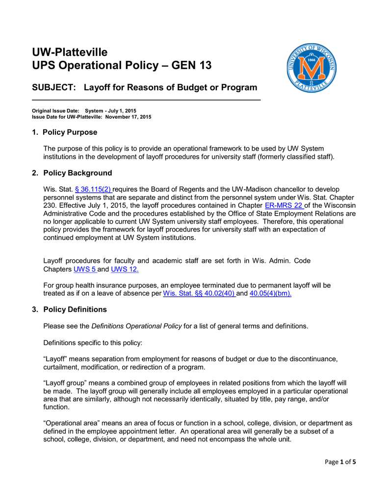 UW-Platteville – GEN 13 UPS Operational Policy