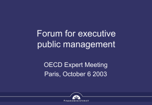 Forum for executive public management OECD Expert Meeting Paris, October 6 2003