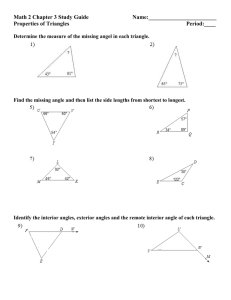 Math 2 Chapter 3 Study Guide     ... Properties of Triangles