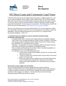 502 Direct Loans and Community Land Trusts Rural Development