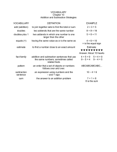 VOCABULARY Chapter 10 Addition and Subtraction Strategies