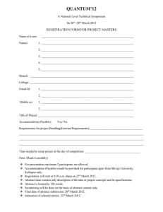 QUANTUM'12 REGISTRATION FORM FOR PROJECT MASTERS