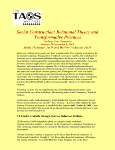 Social Construction: Relational Theory and Transformative Practices