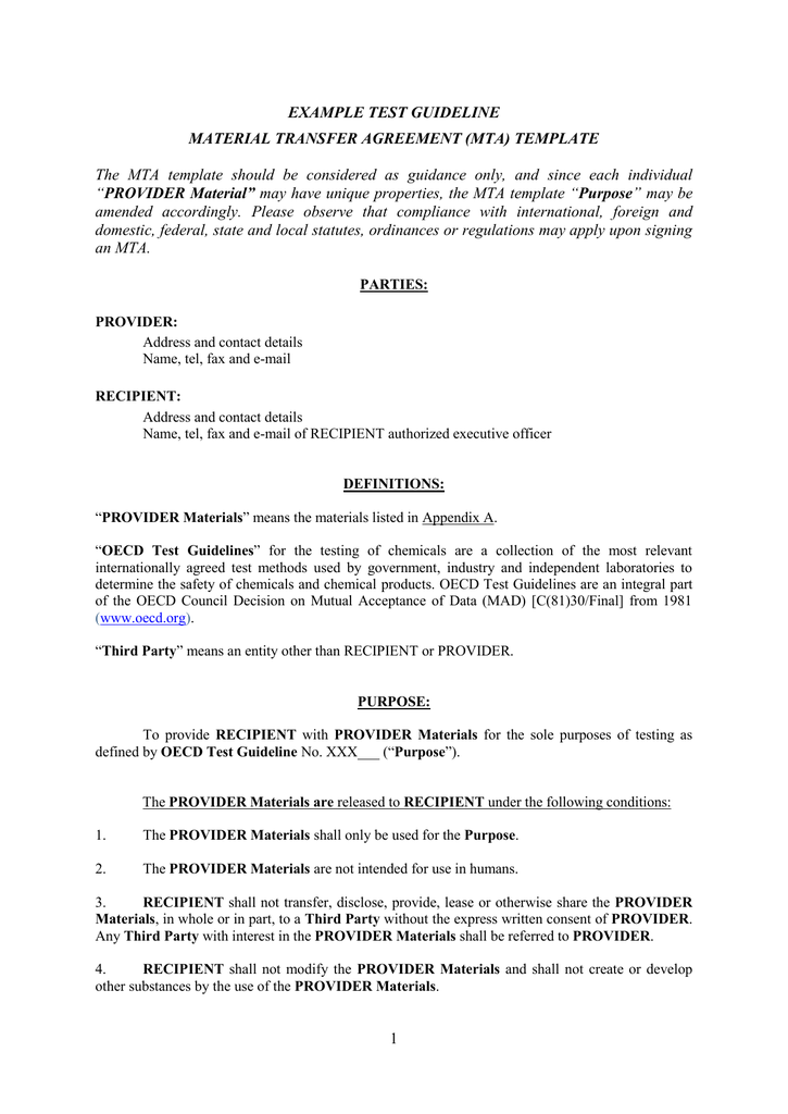 Example Test Guideline Material Transfer Agreement Mta Template