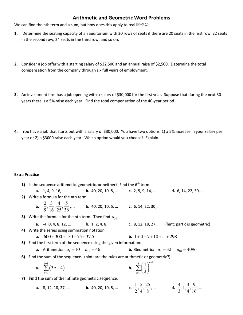 Arithmetic and Geometric Word Problems