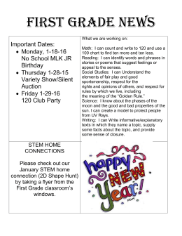 First Grade News Important Dates: Monday, 1-18-16 