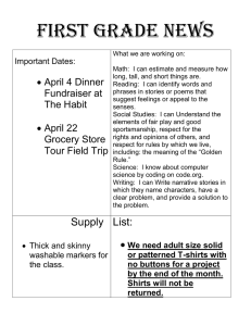 First Grade News  April 4 Dinner Important Dates: