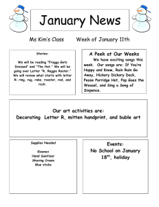 January News Ms Kim's Class Week of January 11th