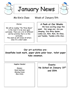 January News Ms Kim's Class Week of January 5th