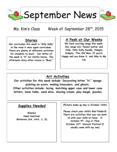 September News Ms. Kim's Class Week of September 28 , 2015