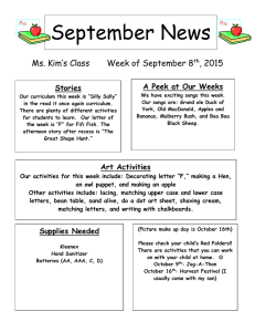 September News Ms. Kim's Class Week of September 8 , 2015