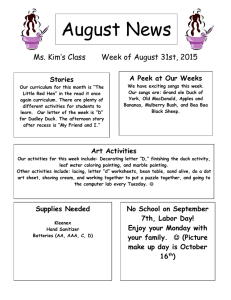 August News Ms. Kim's Class Week of August 31st, 2015
