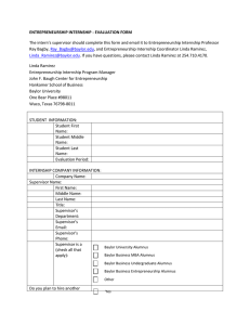 ENTREPRENEURSHIP INTERNSHIP - EVALUATION FORM