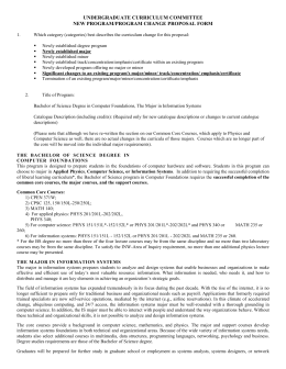 UNDERGRADUATE CURRICULUM COMMITTEE NEW PROGRAM/PROGRAM CHANGE PROPOSAL FORM