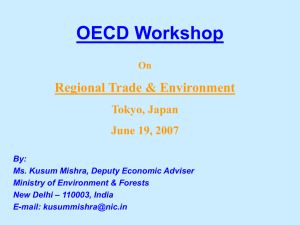 OECD Workshop Regional Trade & Environment Tokyo, Japan June 19, 2007