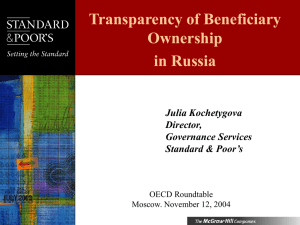 Transparency of Beneficiary Ownership in Russia Julia Kochetygova